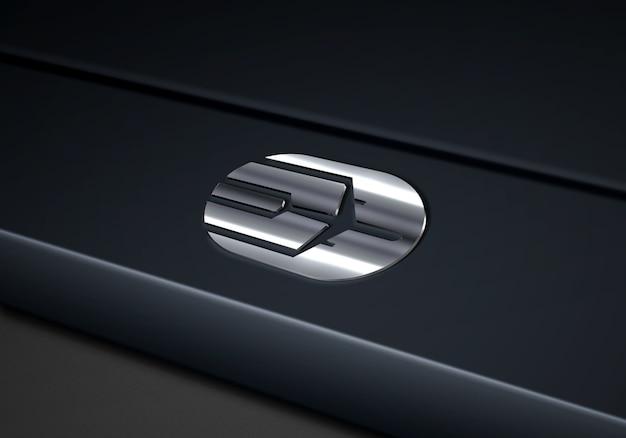 Tech Silver Logo Mockup에 닫기 프리미엄 PSD 파일