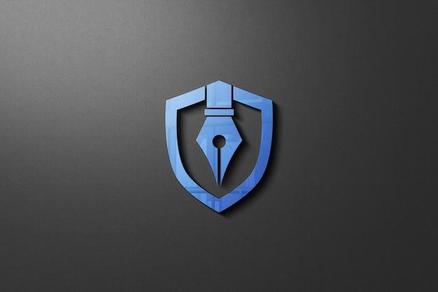 分離された壁のロゴのモックアップのクローズアップ Premium Psd