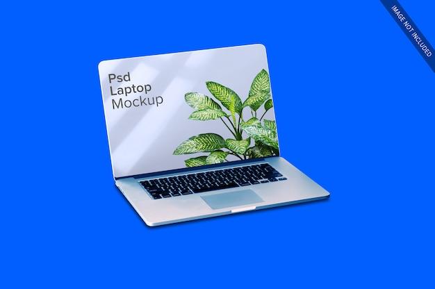 白いラップトップのモックアップにクローズアップ Premium Psd