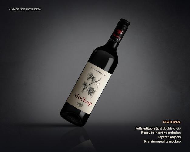 Крупным планом на изолированном макете этикетки бутылки вина Premium Psd