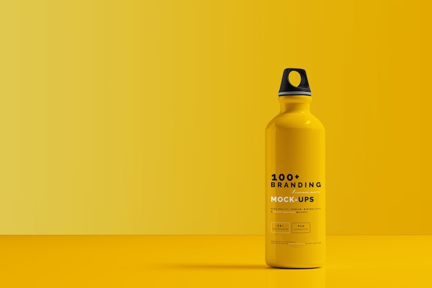 Close up on packaging of aluminum water bottle mockup Premium Psd