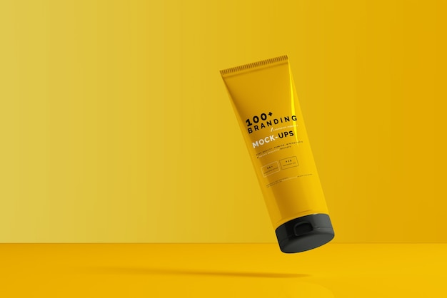 Close up on packaging of cosmetic tube mockup Premium Psd
