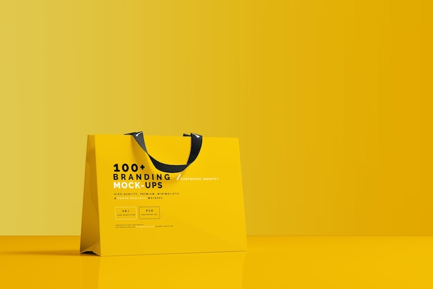 Close up on packaging of shopping bag mockup Premium Psd