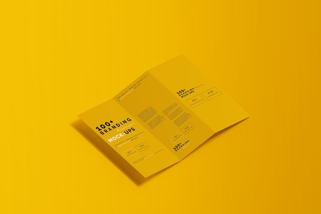 Close up on packaging of three fold dl brochure mockup Premium Psd