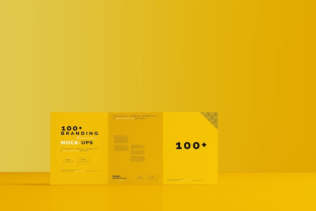 Close up on packaging of tri fold brochure mockup Premium Psd