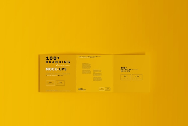 Close up on packaging of tri fold square brochure mockup Premium Psd