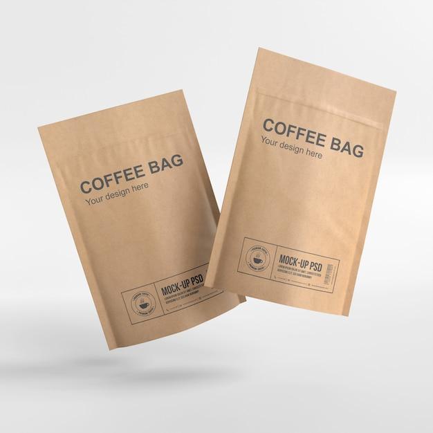 Макет бумажного кофейного мешка крупным планом Premium Psd