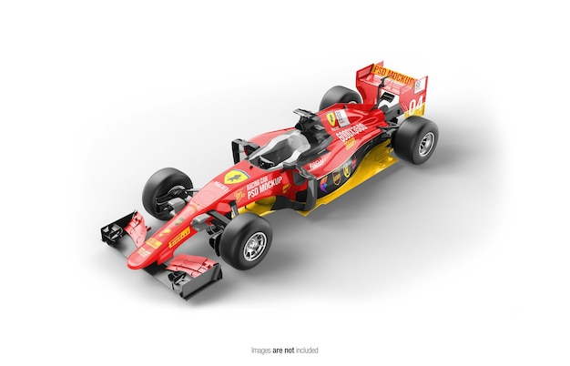 Close up on racing f1 car mockup isolated Premium Psd
