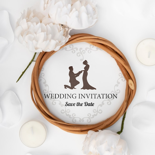 Close-up romantic wedding invitation Free Psd