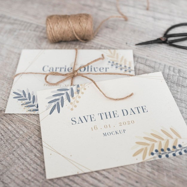 Close-up save the date card with mock-up Free Psd