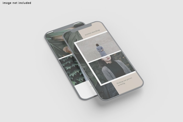Close up on screen phone mockup isolated Premium Psd