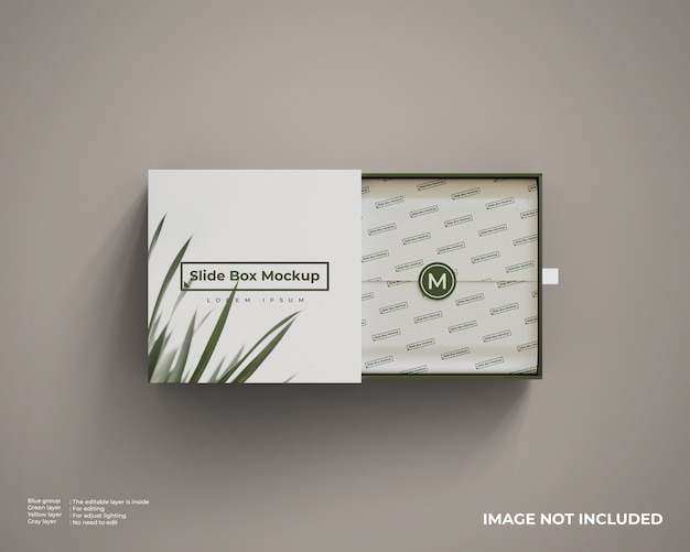 Close up on slide box mockup isolated Premium Psd