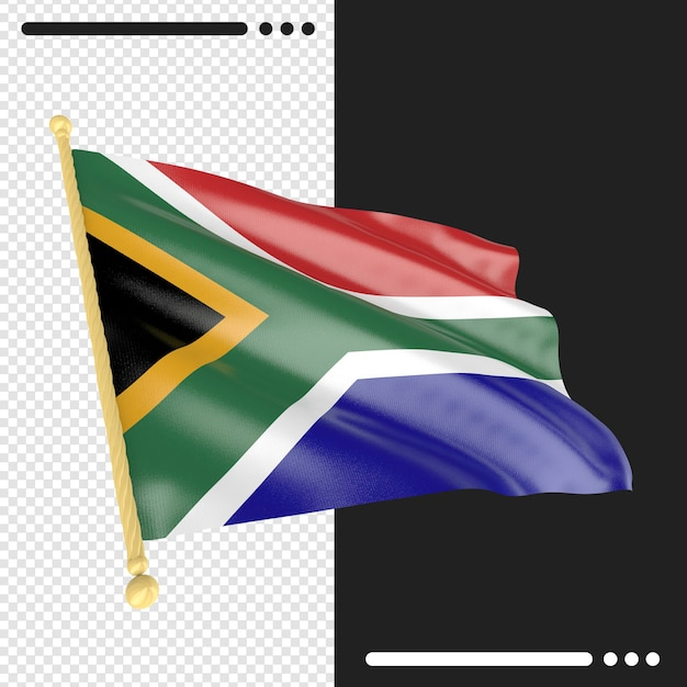Close up on south africa flag rendering isolated Premium Psd