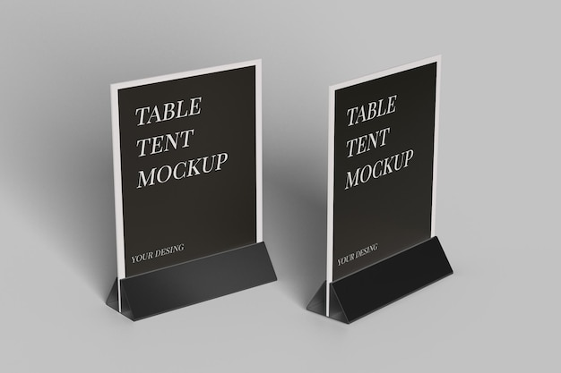 Close up on table tent mockup design isolated Premium Psd