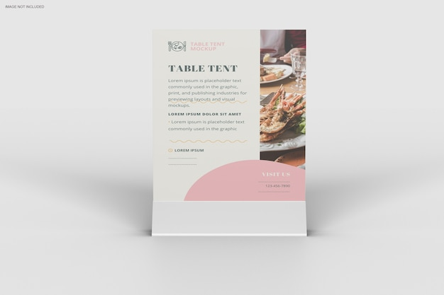 Close up on table tent mockup design Premium Psd