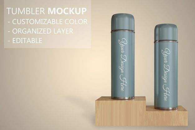 Close up on tumbler or vacuum flask mockup standing on the wooden box Premium Psd