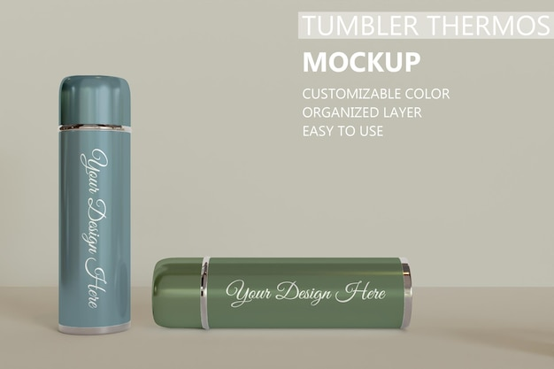 Close up on two tumbler or vacuum flask mockup Premium Psd