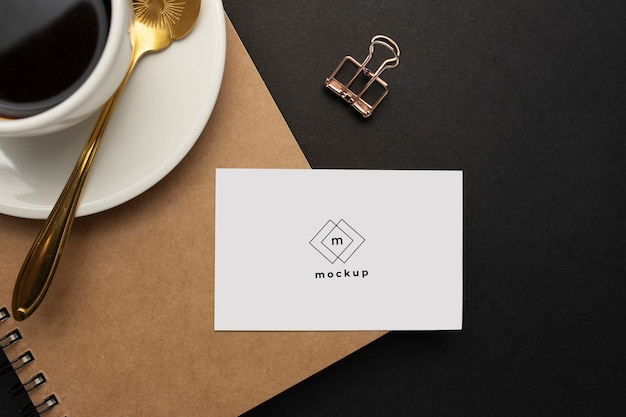 Close up of a visit card on a business desktop Free Psd
