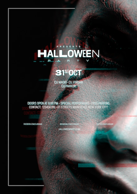 Close-up woman with halloween make-up and glitch effect Free Psd