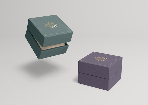 Closed jewelry boxes with different colours Free Psd