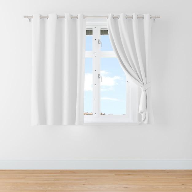 Закрытое окно с шторами Бесплатные Psd