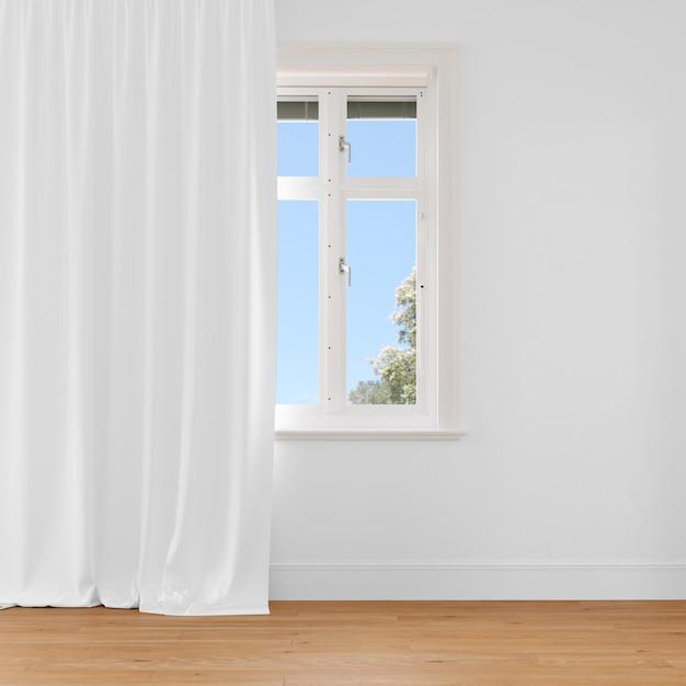 Закрытое окно с белой занавеской Бесплатные Psd