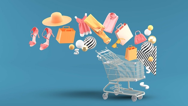 Clothes, bags, high heels, shopping bags and hats floated down to the shopping cart. Premium Psd