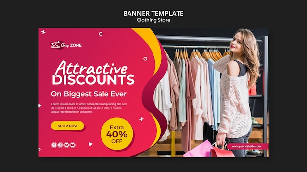 Clothing store concept banner template Free Psd