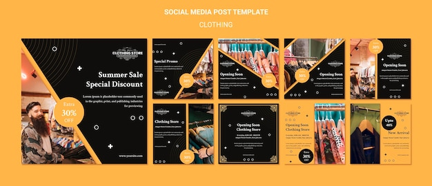 Clothing store social media post template Premium Psd