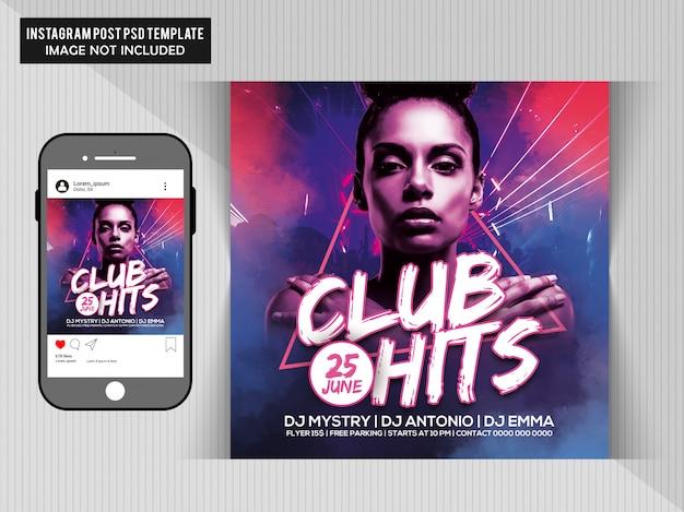 Club hits party flyer Premium Psd