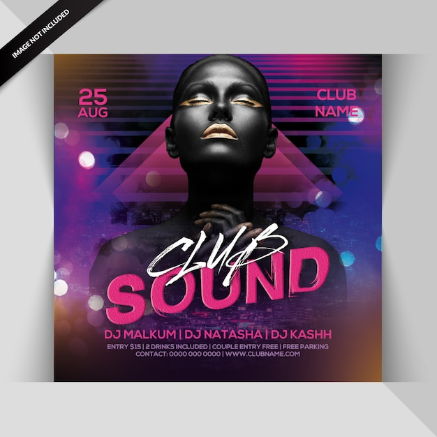 Club sound night party flyer Premium Psd
