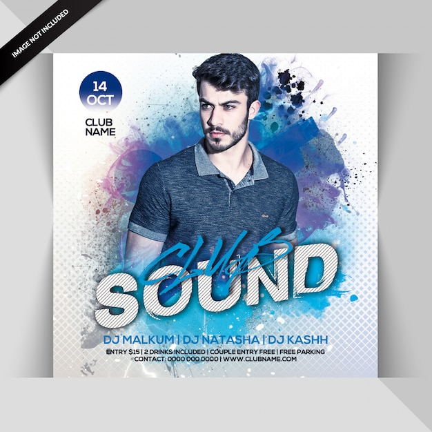 Club sound party flyer Premium Psd