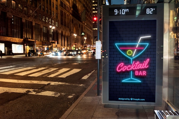Cocktail bar mock-up in neon Free Psd