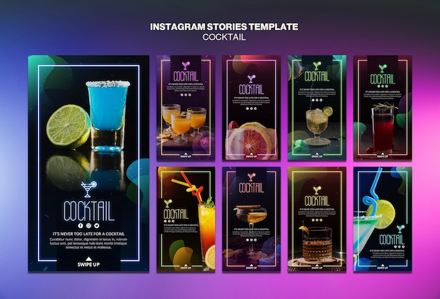 Cocktail concept instagram stories template Free Psd