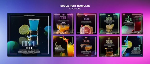 Cocktail concept social media post template Free Psd