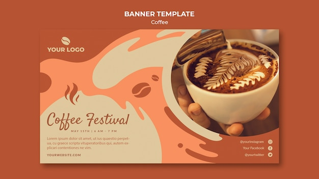 Coffe concept banner template mock-up Free Psd