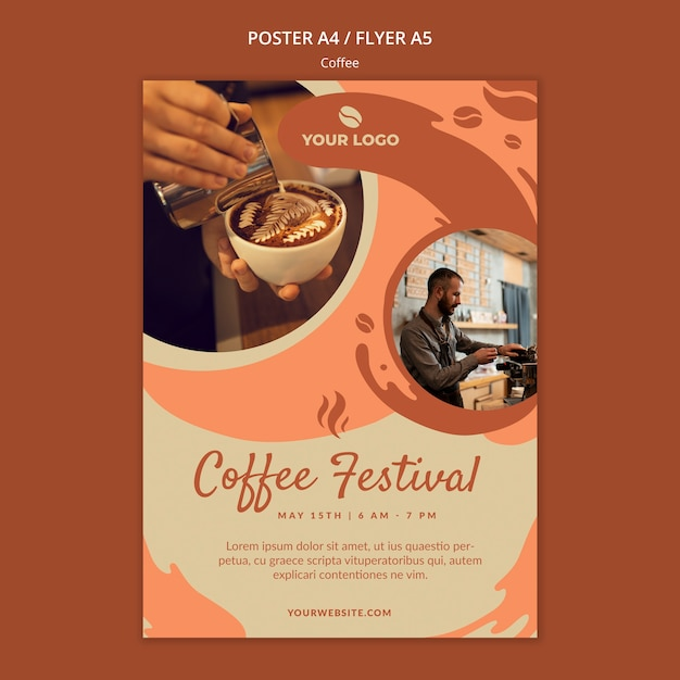 Coffe concept poster mock-up Free Psd