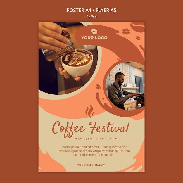 Coffe concept плакат макет Бесплатные Psd