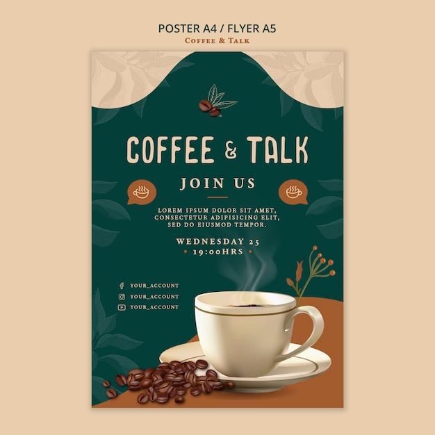 コーヒーとトークのチラシデザイン 無料 Psd