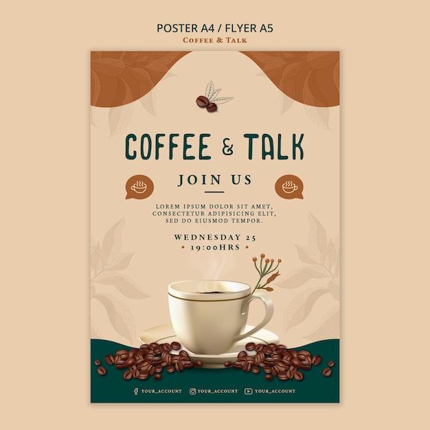 コーヒーとトークのポスターデザイン 無料 Psd