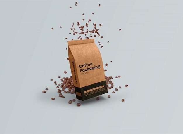 Кофейные пакетики макет гравитации psd Бесплатные Psd