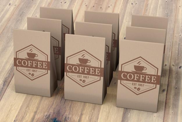 コーヒーバッグのモックアップ 無料 Psd