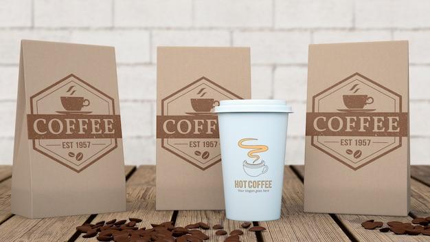 コーヒーバッグのモックアップ Premium Psd