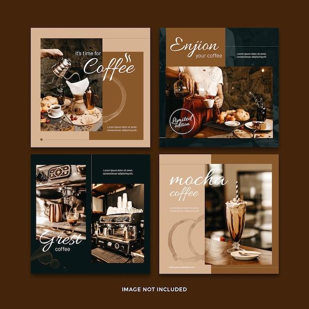 Кофейный баннер социальной сети пост коллекции шаблонов Premium Psd