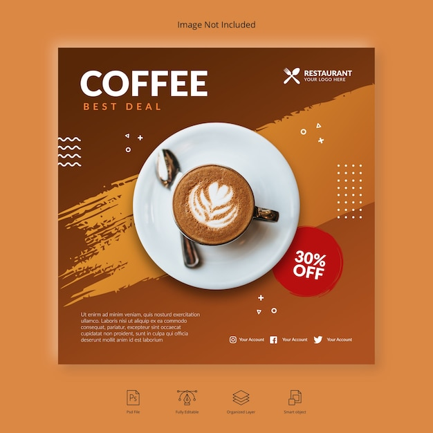 Coffee banner template Premium Psd