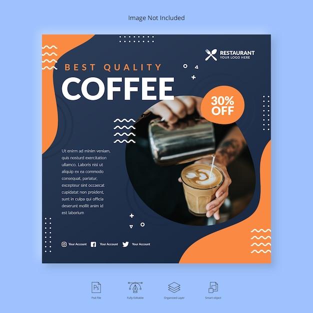 Шаблон кофейного баннера Premium Psd