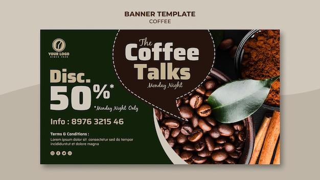 Banner di caffè con sconto Psd Gratuite