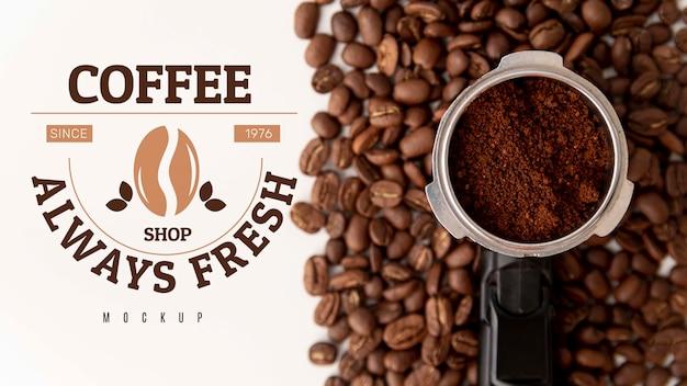 커피 원두와 분말 무료 PSD 파일