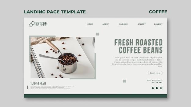 커피 콩 방문 페이지 템플릿 무료 PSD 파일