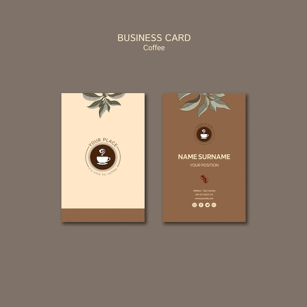 Coffee beverage business card Free Psd